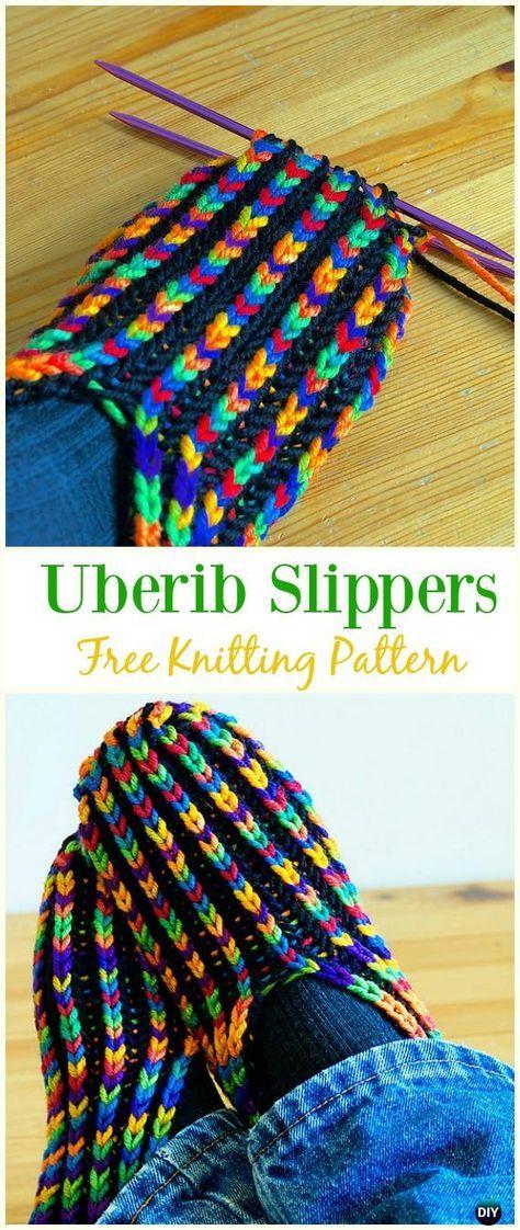 Uberib Slippers Free Knitting Pattern - #Kniting; Adult #Slippers Free Patterns