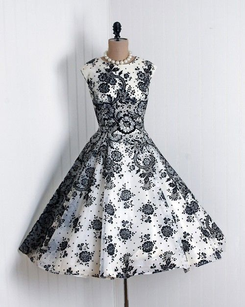 black and white: Fashion, Vintage Wear, Cocktails Dresses, Clothing, Parties Dresses, 1950S Dresses, Black And White, Black White, Vintage Style