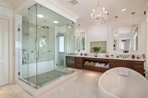 Schonbek lighting for modern bathroom interior design