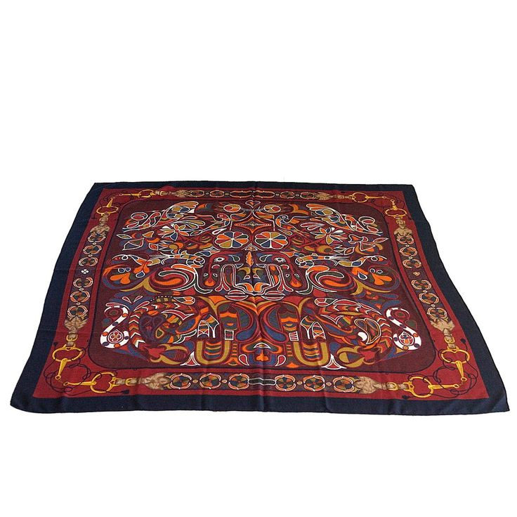 """HERMES scarf shawl  """"FOLKLORE"""" motif rich color and design cashmere silk Vintage 
