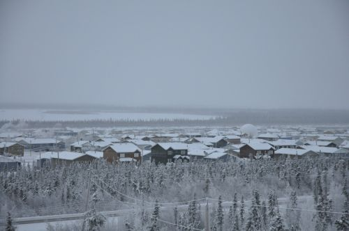Looking down on Inuvik after a snowfall.