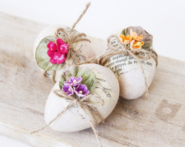 Trio of Decoupaged Eggs by BailiwickStudio on Etsy