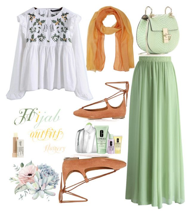 """#Hijab_outfits #flowery #Green #Orange"" by mennah-ibrahim on Polyvore featuring Chicwish, M&Co, Chloé, Kiehl's and Clinique"