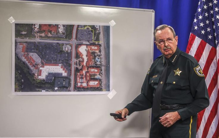 Palm Beach County Sheriff Ric Bradshaw uses map to point out areas around Eau Palm Beach Resort and Spa that law enforcement will block off during President Donald Trump's visit with Chinese President Xi Jinping this week, Wednesday, April 5, 2017. Damon Higgins / The Palm Beach Post