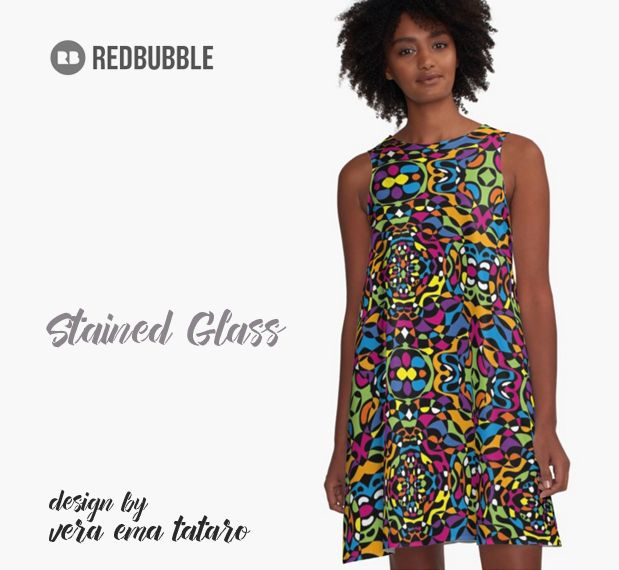 Stained Glass Pattern A-Line Dresses - by vera ema tataro