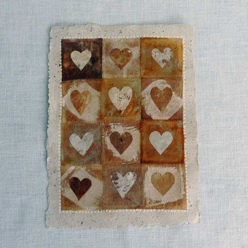 12 Hand painted / crafted tea bags on handmade paper.