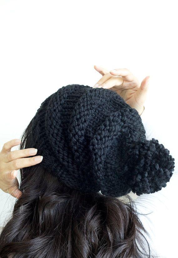 Hand knit slouchy beanie pom pom hat in Black by PikaPikaCreative