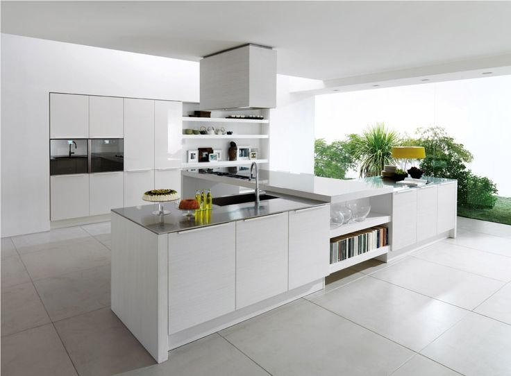 White Themed Trendy Kitchen Designs With Contemporary White L Shaped Base  Kitchen Cabinet That Have Stainless