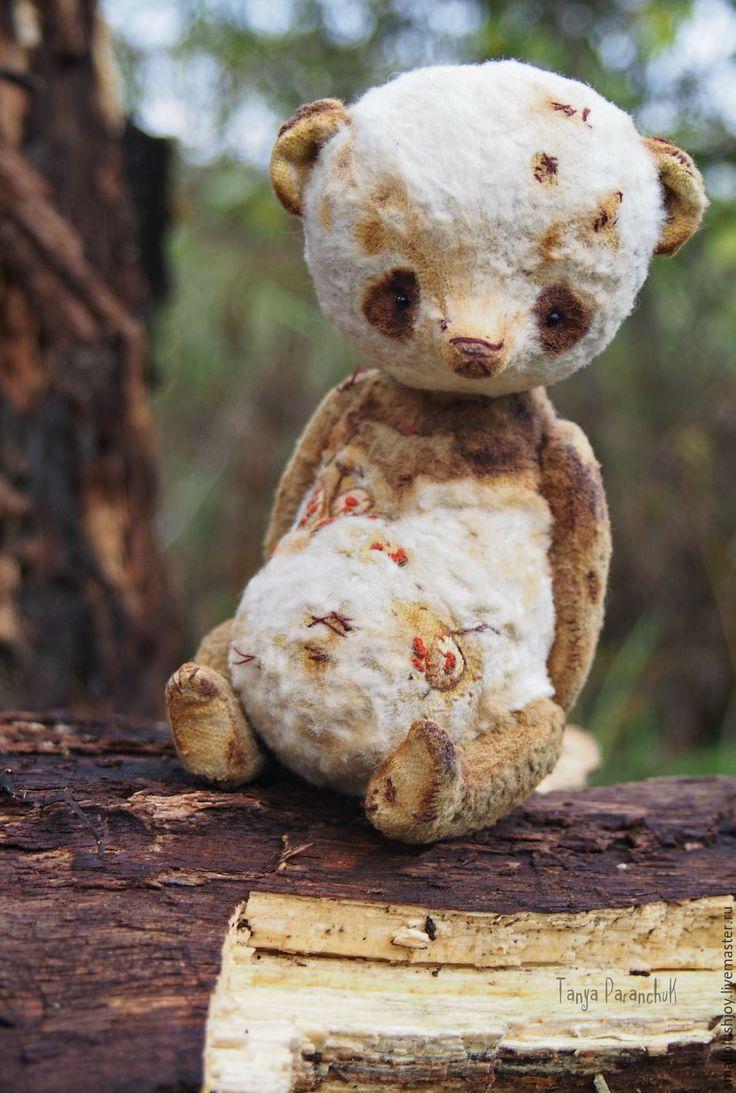 Купить Панда Лунария - белый, коричневый, панда, коллекционная игрушка, коллекция, гербарий, ручная работа