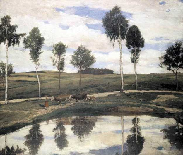 Antonin Slavicek (Czech, 1870-1910) - At Home in Kamenicky, 1904