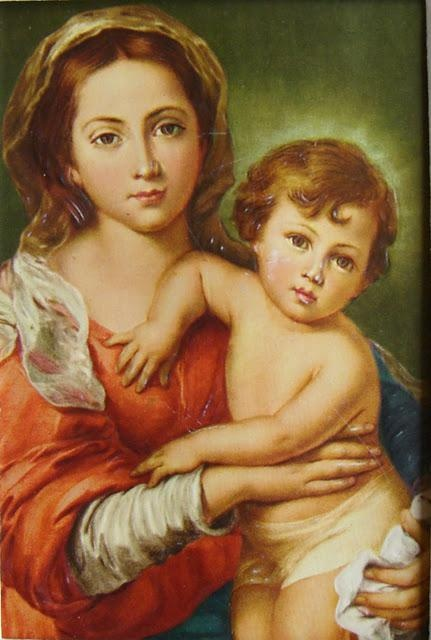 Esteban Murillo's portrait of the Madonna and Child, located in the Palazzo Pitti, Galleria Palatina, Florence, Italy. Murillo painted this about 1650.