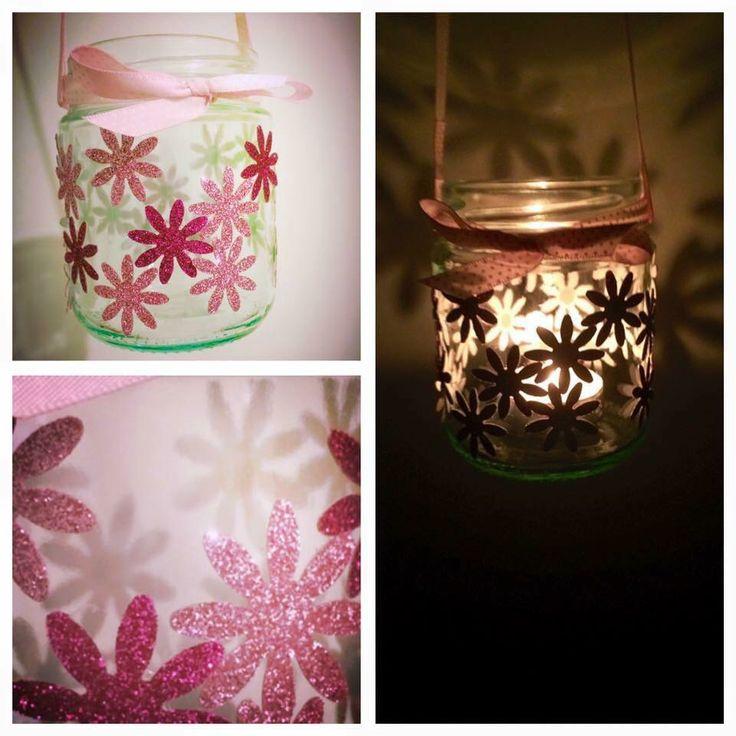 Pink flower hanging candle holder