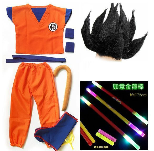 ==> [Free Shipping] Buy Best Dragon Ball GoKu Cosplay Costume Adult /Child Anime cosplay clothes Top pants  wrist  shoe cover  tail  stick  wig  belt Online with LOWEST Price | 32792556119