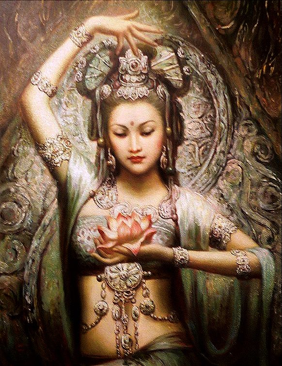"Quan Yin (""KWAN-yin""). Her name means ""She who hears the cries of the world."" She is a goddess of mercy in Taosim, and Bodhisattva of compassion, empathy, forgiveness and agape (or Big ""L"" Love) in Buddhism.  It is said that saying her name alleviates suffering."