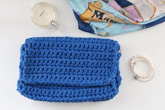 Blue knitted handbag