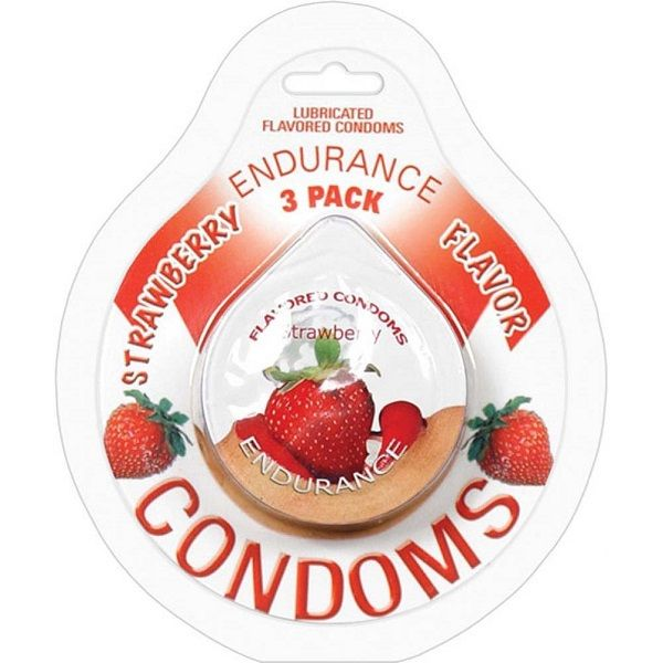 Endurance Flavored Condom 3 Pack Strawberry - Endurance Lubricated Flavored Condoms Strawberry erotically, delicious flavors. Condoms are an essential item for any individual that enjoys a healthy sex life. These flavored and lubricated condoms help you to enjoy all aspects of sexual intimacy while practicing safer sex habits. This product contains natural rubber latex. Innovative packaging design allows for quick and easy opening. Do yourself and your partner a favor. Get it flavored.