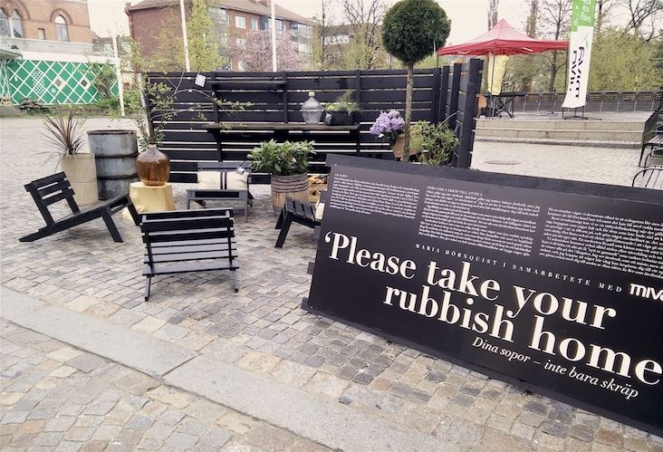 'PLEASE TAKE YOUR RUBBISH HOME' #inspiration #upcycling #pallet #chair #lounge