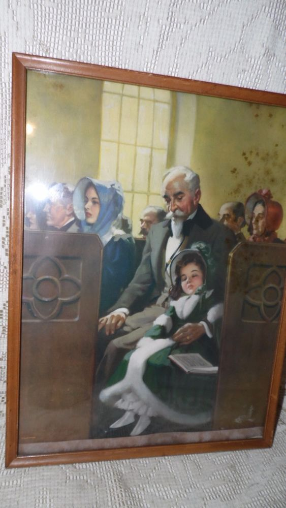 VINTAGE SHAW-BARTON PRINT IN WOOD FRAME SIGNED GRANDFATHER GRANDAUGHTER CHURCH #ArtDeco