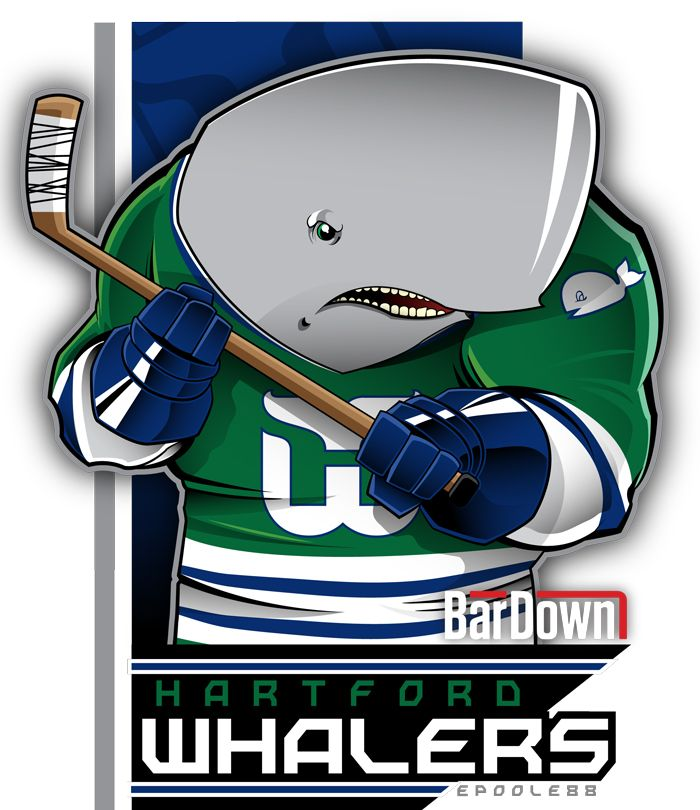 Lord a'mighty, how I miss Brass Bonanza.  The Hartford Whalers, R.I.P., as rendered by Eric Poole. Check out more of his work at http://epoole88.tumblr.com