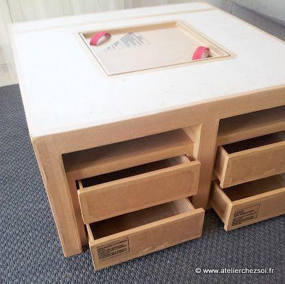 table basse en carton Hoxane - brute - 4 tiroirs