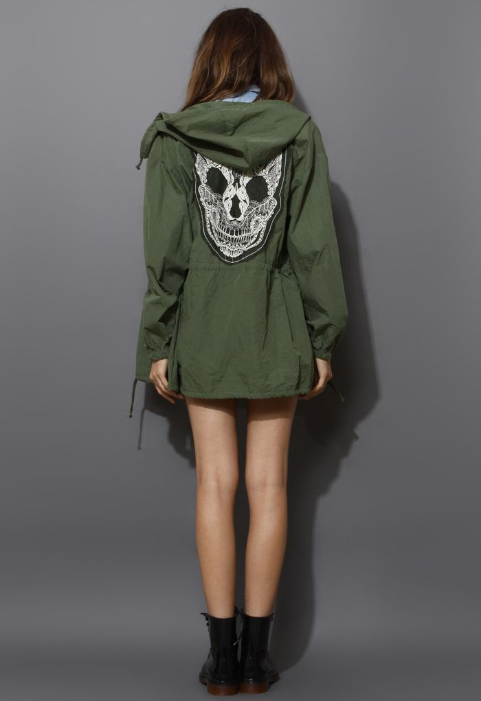 Lace Skull Detail Armygreen Military Coat - New Arrivals - Retro, Indie and Unique Fashion
