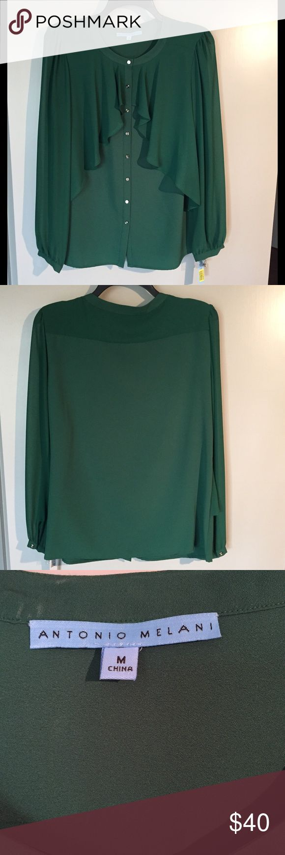 Antonio Melani Emerald Green Blouse Antonio Melani emerald green blouse with  gold buttons, beautiful ruffle and somewhat sheer sleeves. Great for work or going out. 100% Polyester. New with tags! ANTONIO MELANI Tops Blouses