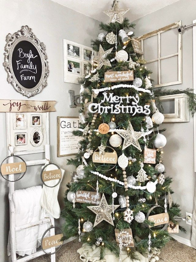 Neutral Farmhouse Christmas Tree Large Merry Christmas Silver Decorat Large Christmas Ornaments Traditional Christmas Decorations Diy Christmas Tree Ornaments