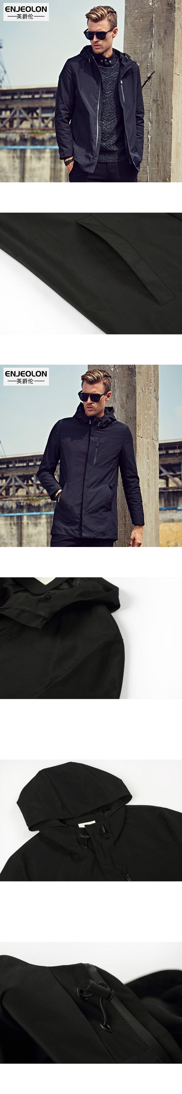 Enjeolon brand 2017 hooded Bomber windbreaker jackets men, fashion black solid Mens coats,hoodies Jacket Men cool clothes JK0319