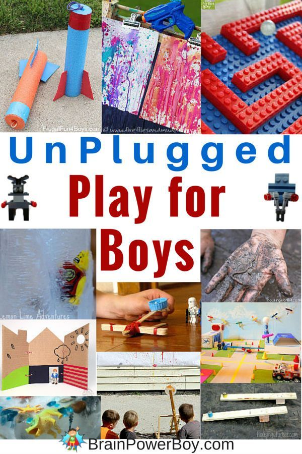 Awesome ideas for unplugged play boys will love. Over 50+ super fun options (plus a link to 150 more!) Great for screen free week or anytime you want your boys off screens.
