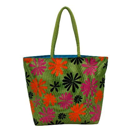 Olive Green Designer Jute Bag at Utsav Kraft - copy