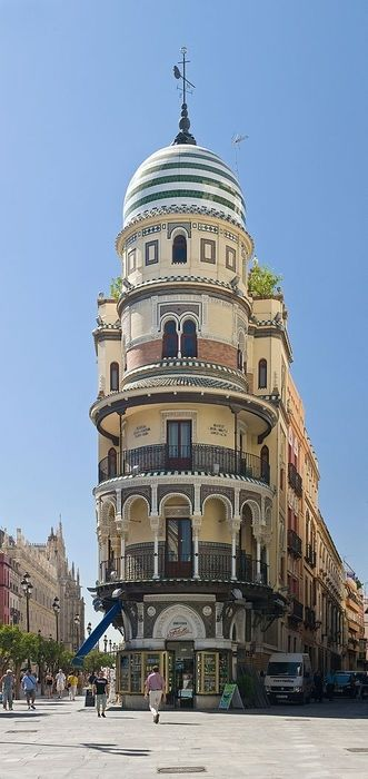 Andalusian style building in Seville, Spain
