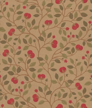 Medlar (BW45025/2) - G P & J Baker Wallpapers - A pretty and delicate floral flower and leaf trail design in red and gold - available in 5 colour ways. Please request a sample for true colour match.