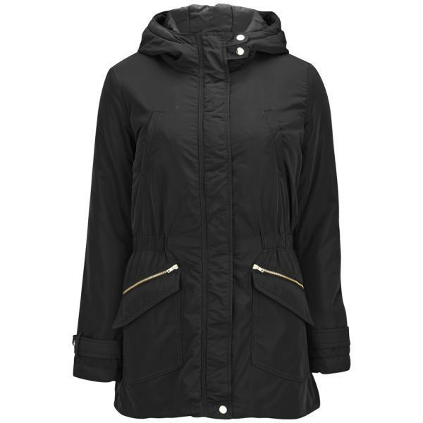 ONLY Women's Fever Parka Coat ($27) ❤ liked on Polyvore featuring outerwear, coats, jackets, black, hooded parka coat, black parka, hooded parka, padded parka and funnel neck coat