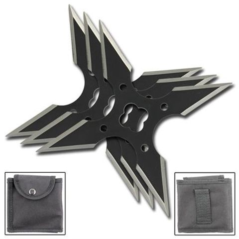 Lucky for you there are three in a set.  Not so lucky for your victim that they are seriously sharp! Four point shuriken with carrying case.