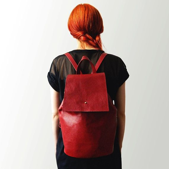 Genuine leather backpack Scarlet by ErikaSzuecs on Etsy
