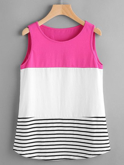 Top de rayas y ribete redondeado en color block