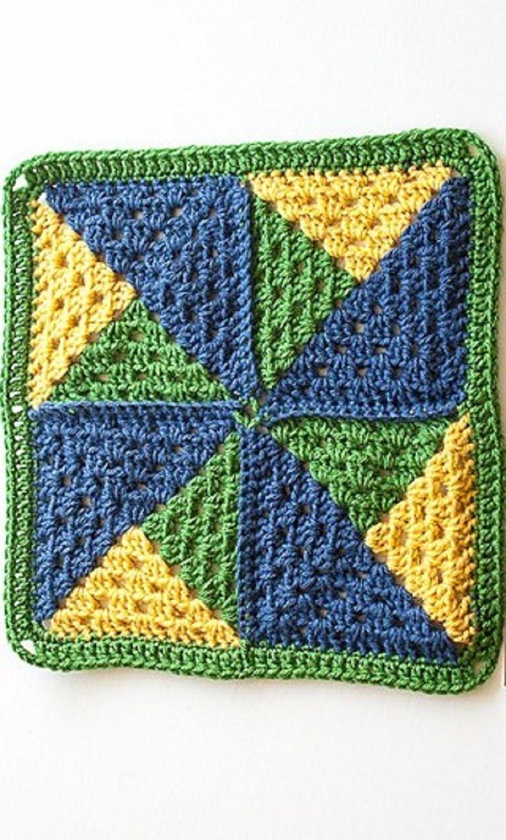 [Free Pattern] Simple Yet Amazing Pinwheel Afghan Square