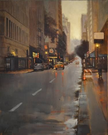 "Saatchi Art Artist Shannon Webster; Painting, ""Rainy Day on Washington Street"" #art"