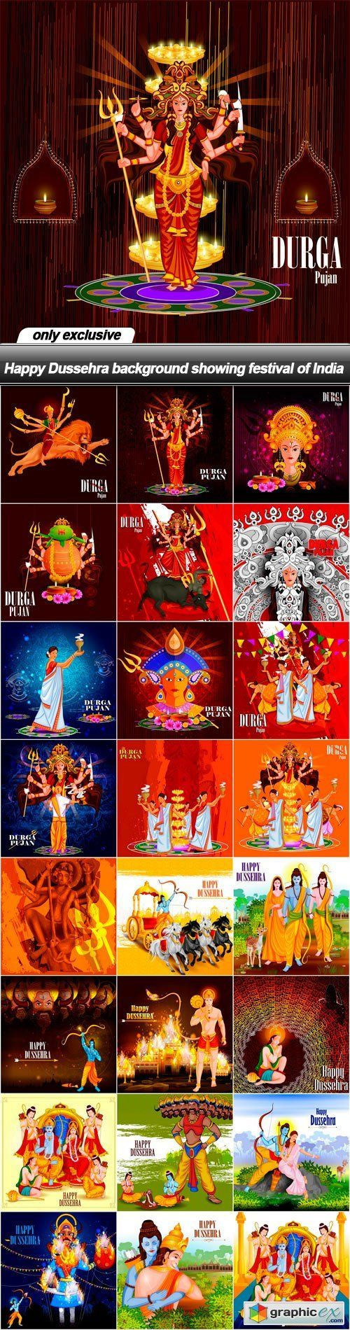 Happy Dussehra background showing festival of India - 25 EPS