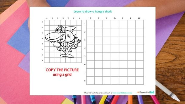 Learn to draw a shark http://www.essentialkids.com.au/activities/colouring-pages/draw-a-shark-page-20151016-gkbbko