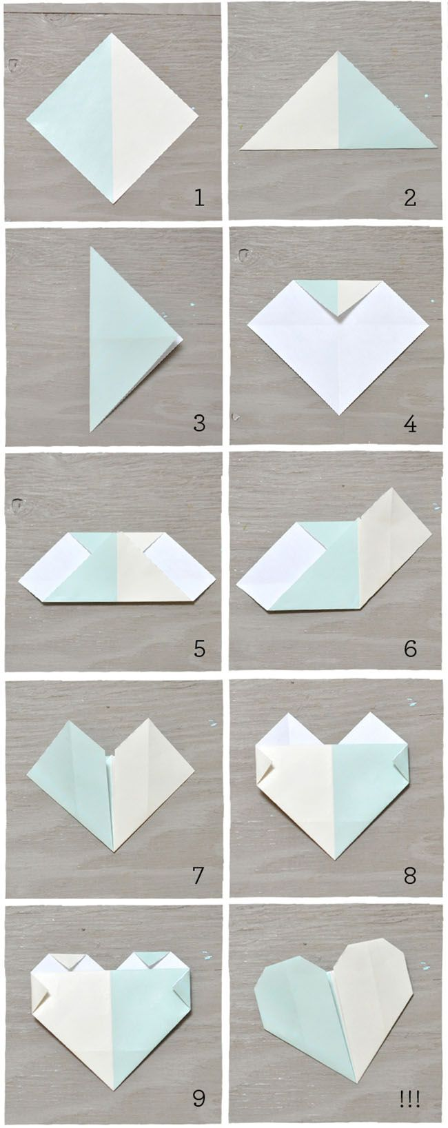 Easy origami heart. Now: make it into an ornament, glue it on a skewer for a cake topper, string several together for a banner or garland.