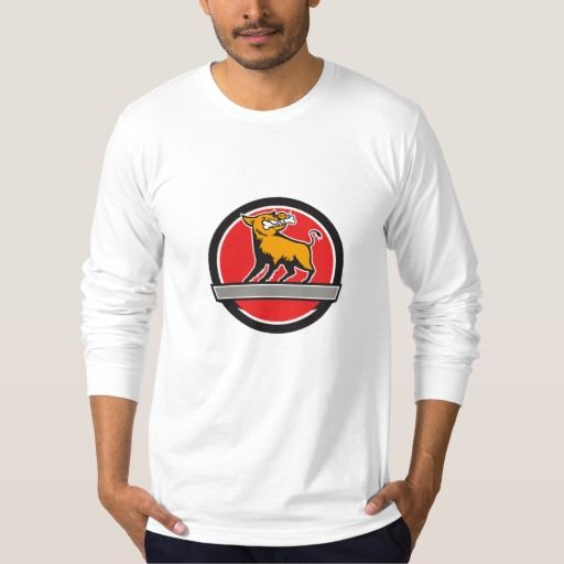 Wild Boar Bone In Mouth Banner Circle Retro T Shirt. Illustration of a wild pig boar razorback head looking up to the side with bone in mouth viewed from front set inside circle and banner done in retro style. #Illustration #WildBoarBoneInMouthBanner