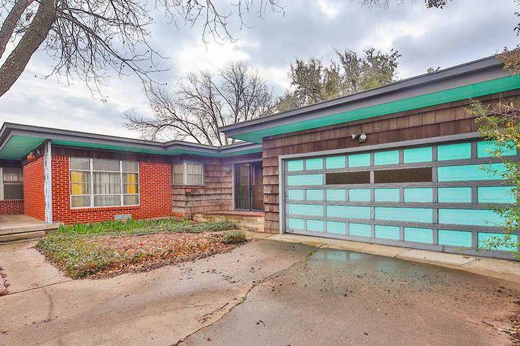 mid century modern garage doors:stunning mid century garage door aqua