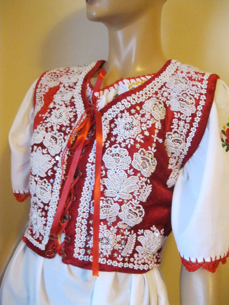Hand beaded Hungarian traditional red velvet vest size S Available at www.greatblouses.com