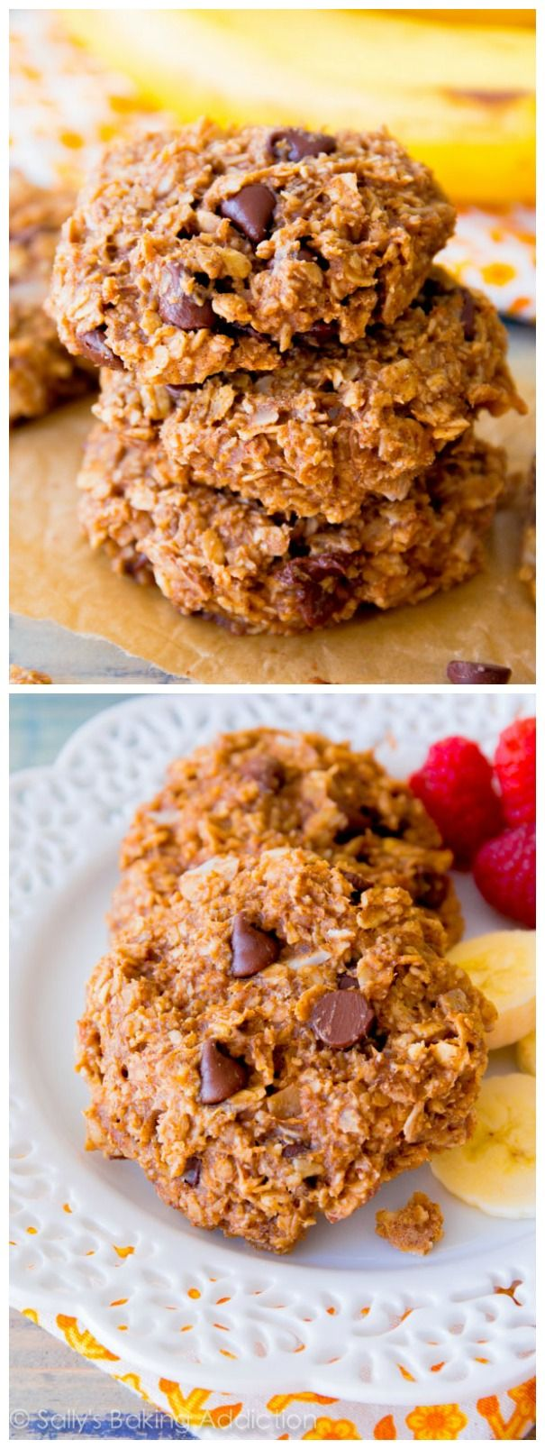 Healthy Banana Chocolate Chip Cookies with almond butter, banana, oats, and not much else! 1 bowl, 25 minutes, so easy.