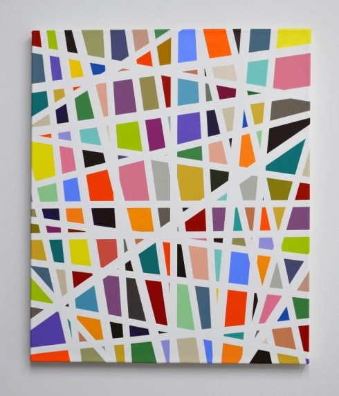 blue tape a canvas and fill in your fav colors... Could do in primary colors, straight lines and teach Mondrian!
