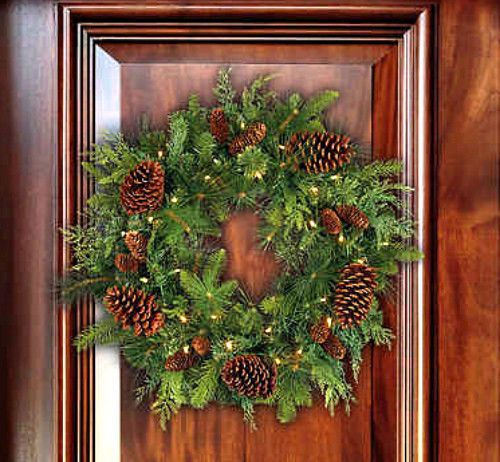 """24"""" Christmas Door Wreath Pre Lighted Artificial Mixed Greenery With Cones Decor #Unbranded"""