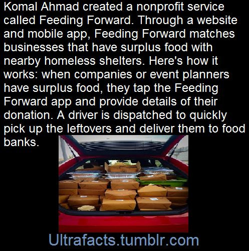 Excess food is a serious issue in the US. After paper, food scraps are the nation's second largest source of waste, according to the US Environmental Protection Agency. Leftovers fill 18 percent of landfills and make up over 30 million tons of what is sent to dumps each year. So Komal Ahmad created a nonprofit service called Feeding Forward.