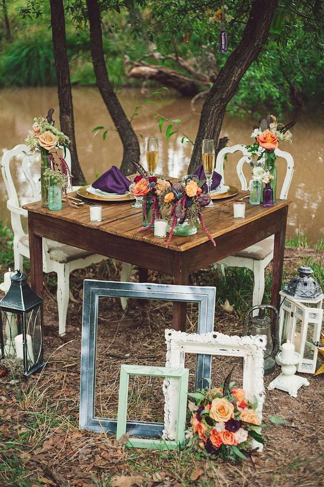 Boho chic wedding party decor! See more party planning ideas at CatchMyParty.com!
