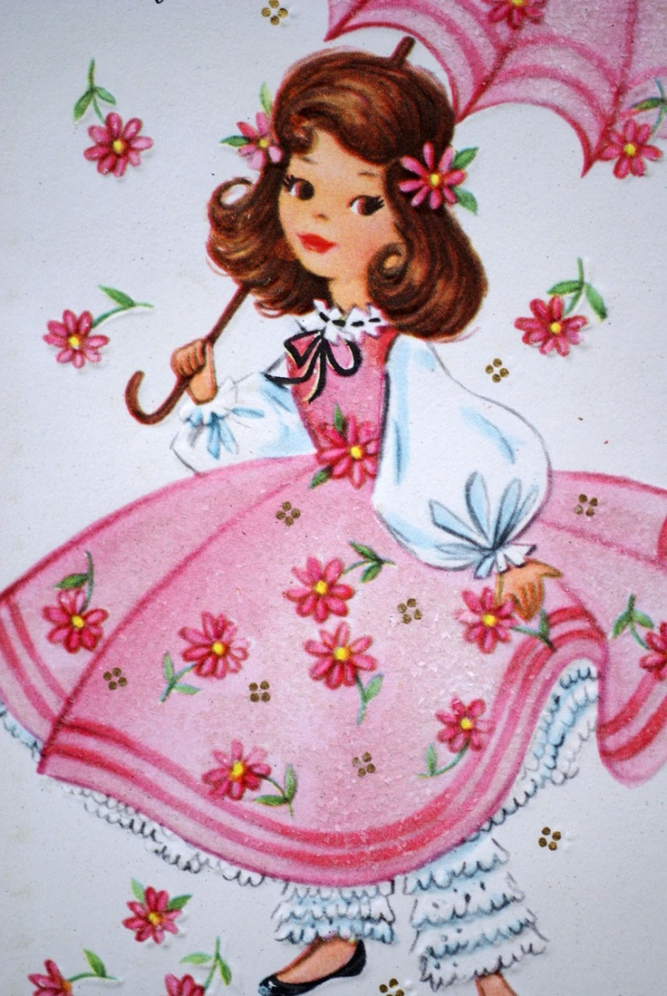 Vintage Girl With Parasol 1950s Happy Birthday Greetings